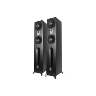 AperionAudio Novus T6 Tower Schwarz Seidenmatt Paar ohne Abdeckungen